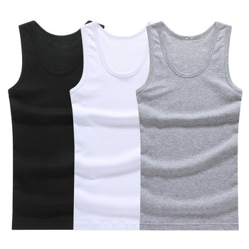 Hot Sale 3pcs / 100% Cotton Mens Sleeveless Tank Top Solid Muscle Vest Undershirts O-neck Gymclothing Tees Whorl Tops 1
