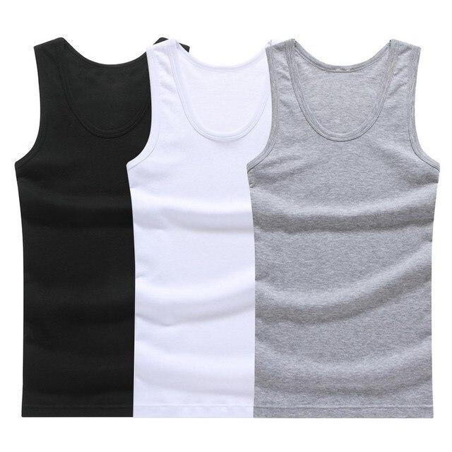 מכירה לוהטת 3 pcs/100% כותנה Mens שרוולים הגופייה מוצק שרירים אפוד גופיות O-צוואר Gymclothing Tees מערבולת חולצות