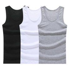 Hot Sale 3pcs / 100% Cotton Mens Sleeveless Tank Top Solid M