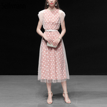 Seifrmann New 2019 Women Spring Summer Dress Runway Fashion Designer Beading Mesh Overlay Dot Printed Elegant Ladies Dresses