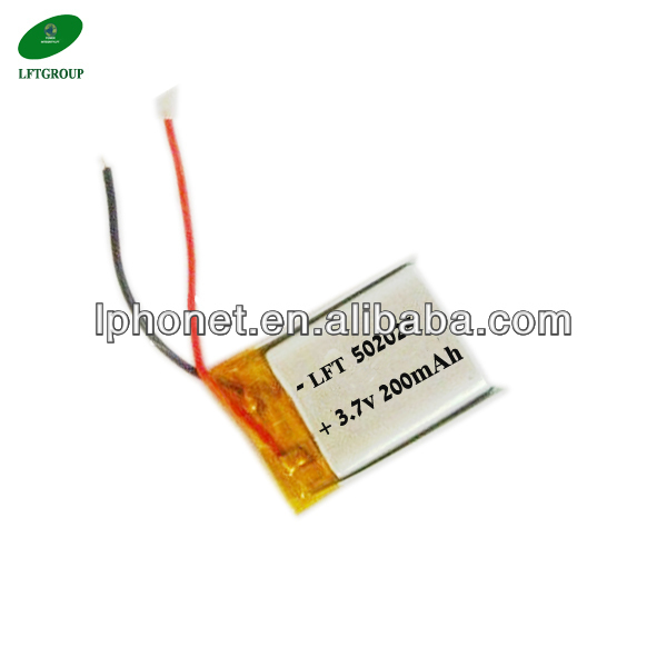 <font><b>502025</b></font> 3.7v lithium polymer 200mah polymer lithium ion <font><b>battery</b></font> for bluetooth image