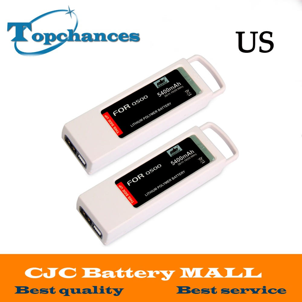 US High Quality 2PCS 5400mAh 11.1 Volt Lipo Battery For Yuneec Q500 Series RC Drone 11.1V 3S/3Cell free customs taxes high quality skyy 48 volt li ion battery pack with charger and bms for 48v 15ah lithium battery pack