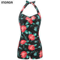 2016 Floral One Piece Swimsuit Swimwear Women Brand New Halter Retro Vintage Padding Beach Bathing Suits