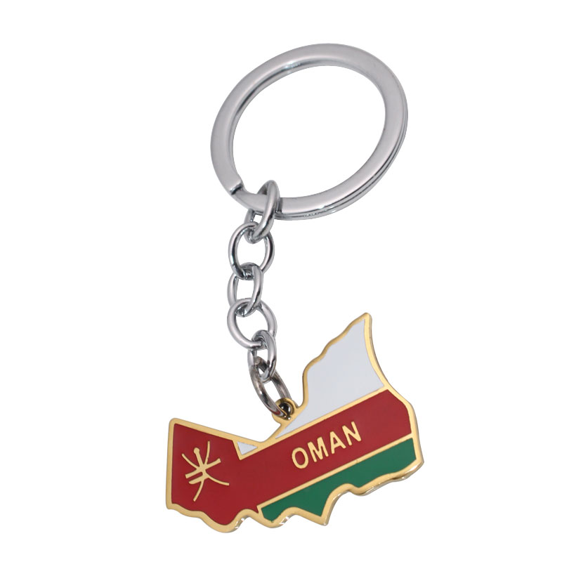 zkd OMAN map OMAN flag Key Chains stainless steel key ring