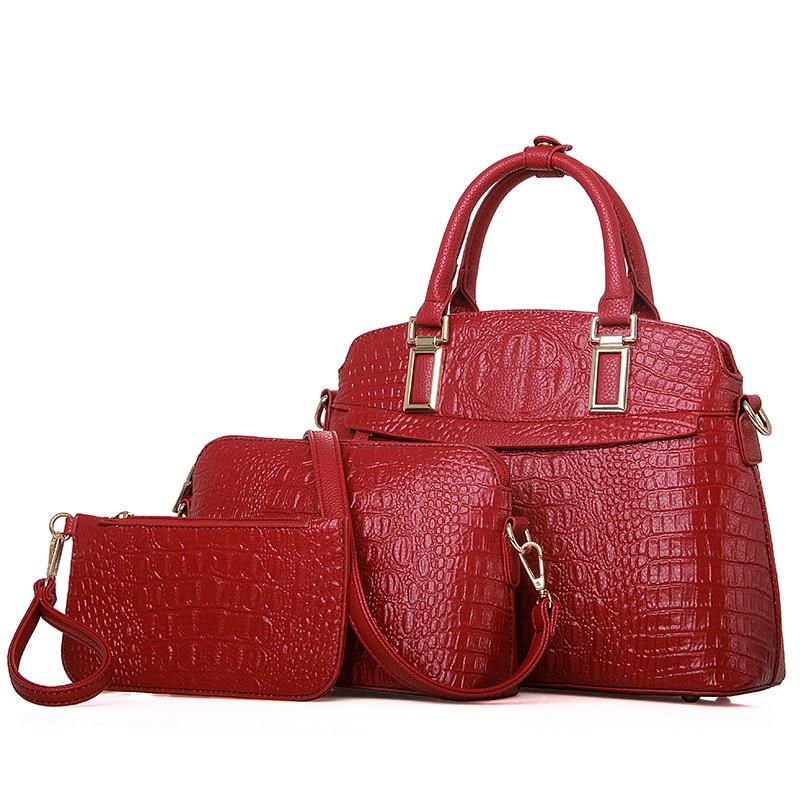 Women Leather font b Handbags b font font b Set b font Crocodile pattern Purses And