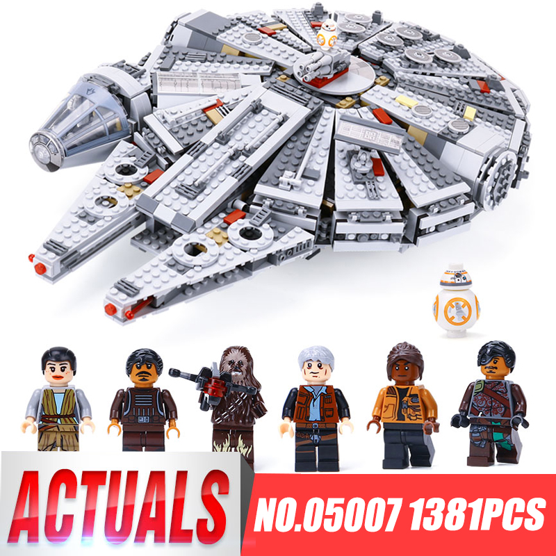 LEPIN 05007 Star Series War Building Blocks Brick 1381pcs Children Toy Awakens Millennium Falcon Model Compatible legoing 10467 lepin 05007 stars series war 1381pcs force awakens millennium toys falcon diy set model building kits blocks bricks children toy
