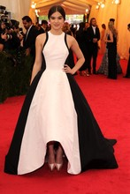 A-Line Unique white&black asymmetrical formal evening gown hailee steinfeld met gala new york red carpet prom dresses 2016