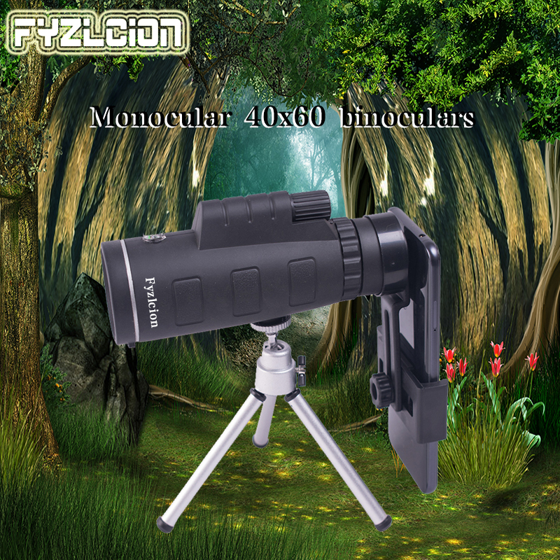 40X60 Monocular Telescope With Compass Phone Clip Tripod Used for Outdoor Hunting Camping Kit