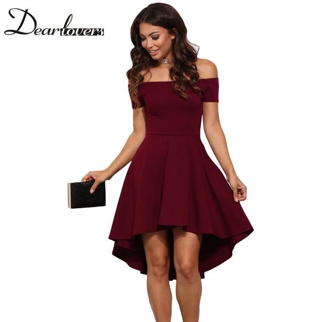 Dear lover Elegantes Vestidos de Fiesta 2017 Borgoña Toda La Rabia raya vertical cuello hombro skater dress formal vestidos altos-bajos LC61346
