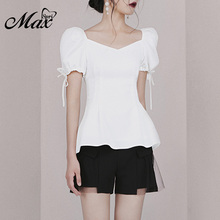 купить Max Spri 2019 New Women Casual Two 2 Piece Sets Solid White Puff Short Sleeves Lace-Up Crop Top Black Mesh Lace Shorts по цене 2532.3 рублей