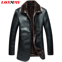 LONMMY 4XL 5XL Fake Fur Collar Leather Jacket Men PU Clothing Slim Fitness Suede Fashion Mens
