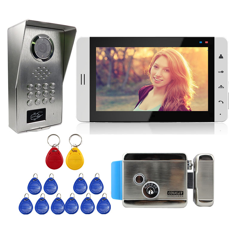 Grenseure FREE SHIPPING 7 Touch LCD Screen Video Door Phone Intercom + RFID Code Keypad Unlock Doorbell Camera Mechanical Lock free shipping wire 7 lcd monitor video intercom door phone kit waterproof rfid code keypad doorbell camera magnetic lock