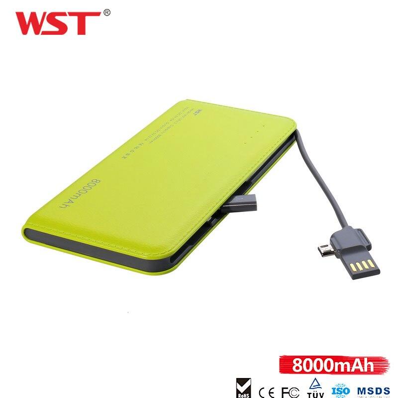 WST charge rapide PowerBank 8000 mAh rouge à lèvres de charme Externe batterie portable Avec Construit dans le Câble Pour IOS Android Caricatore Portatile