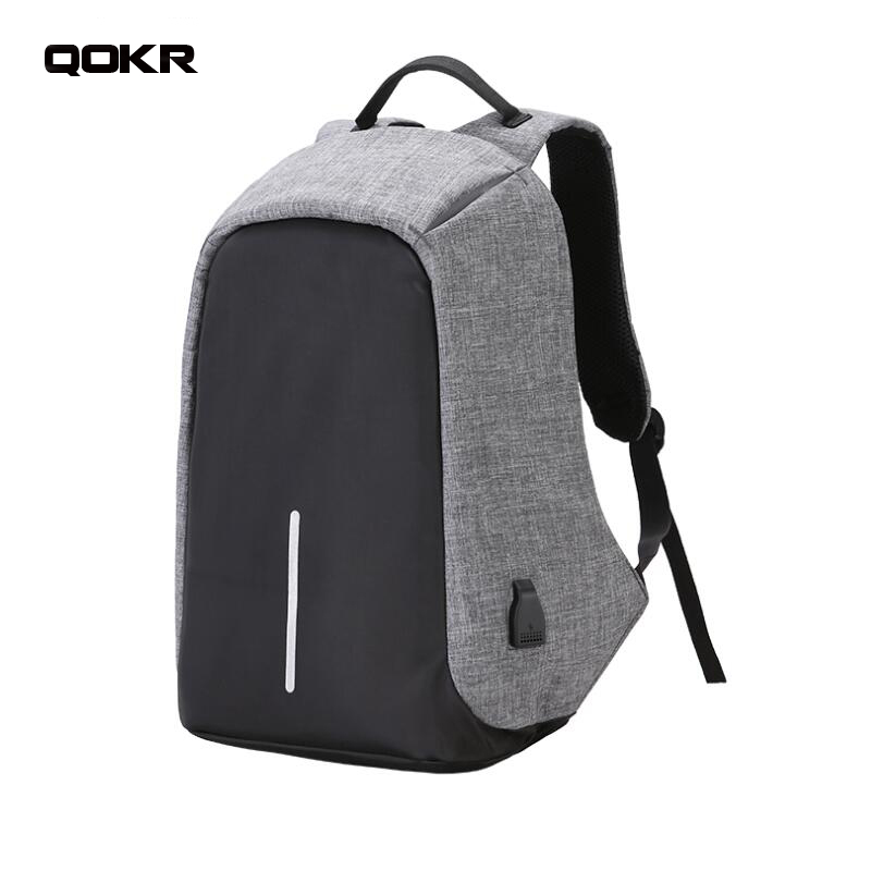 Men USB charging 15 inch Laptop Backpacks For Teenagers women Mochila Leisure Travel anti thief daypacks bags rucksacks QOKR ...