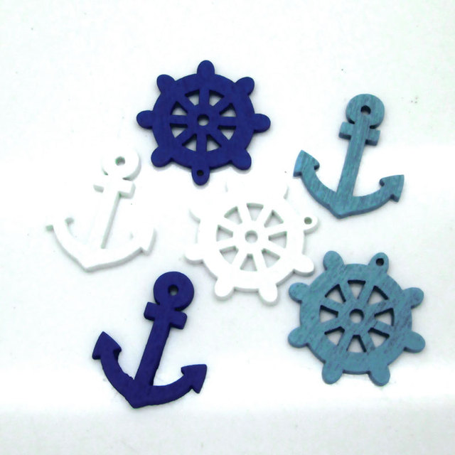 2 Holes Mixed Wooden Button Sea steering wheels anchors pattern Scrapbook Craft Buttons Mix 50pcs Garment Botoes Accessories