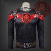American captain 3 aegis Bureau agents Marvel Hydra long sleeved T shirt speed dry clothes
