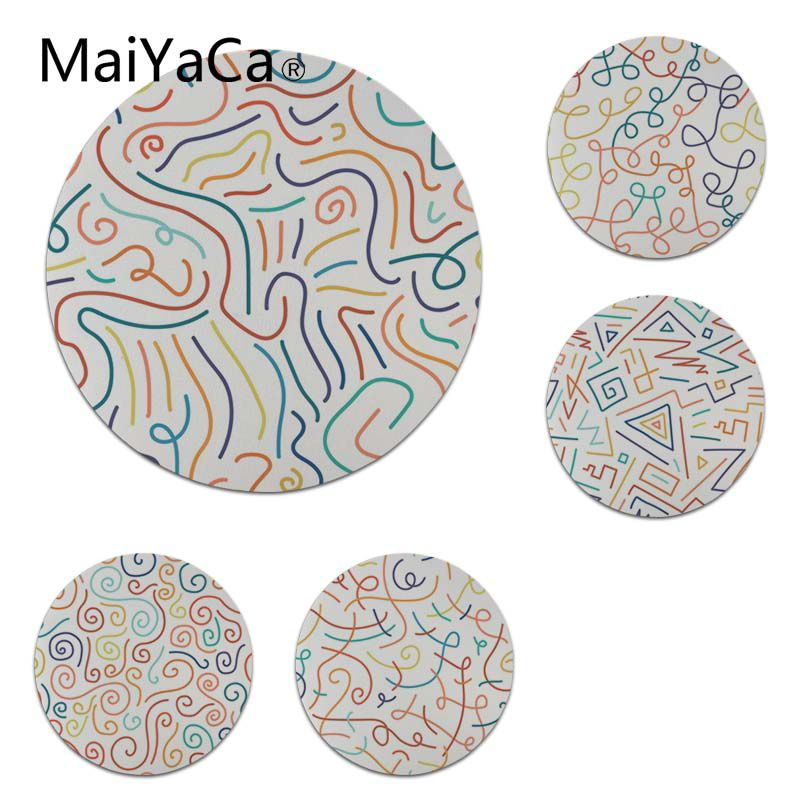 MaiYaCa 2018 New Hand Drawn Doodle Lines Round Mouse pad PC Computer mat Size for 200x200x2mm and 220x220x2mm Cool Mouse Pads
