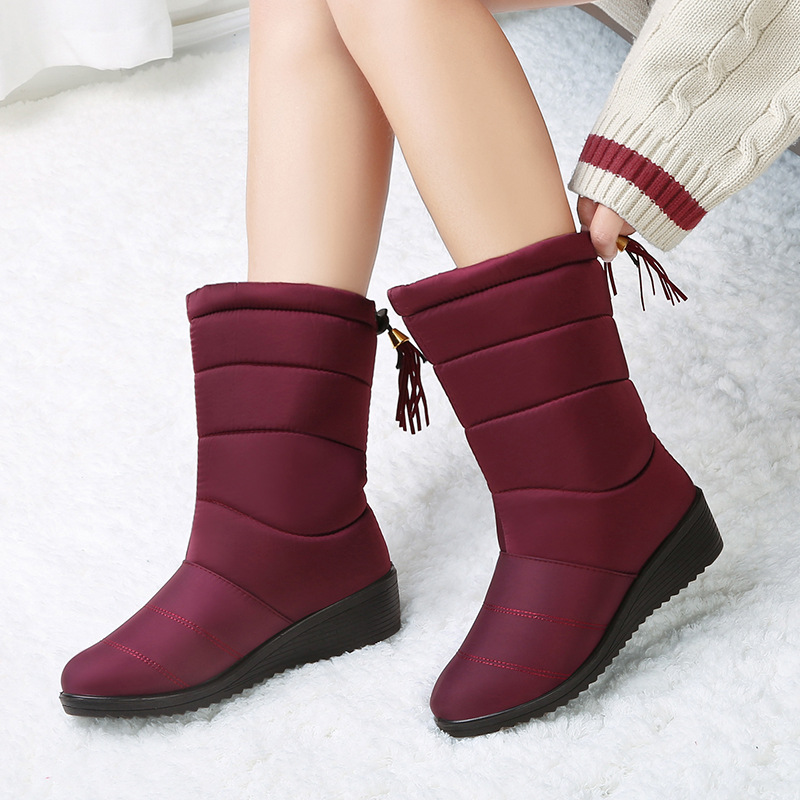 d5c27031cb8 Down platform women winter boots waterproof warm with fur mid-calf snow  boots female black