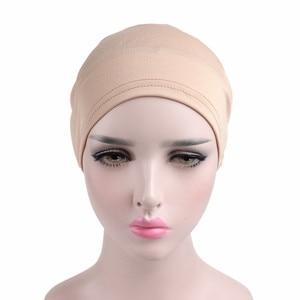 Image 5 - Helisopus New Woman Big Flower Turban Elastic Cloth Hair Bands Hat Chemo Beanie Ladies Muslim Scarf Hair Accessories