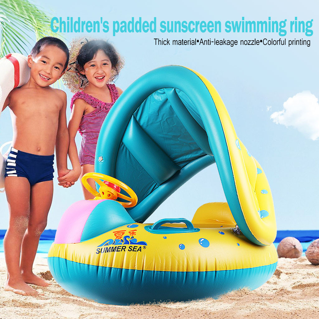 SUMMER Sunshade Baby Kids Float Seat Boat Inflatable Swim Swimming Ring Pool Water Fun Floating ring Play Toy