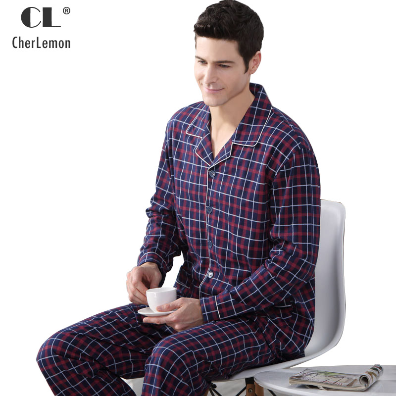 CherLemon Autumn Mens Breathable Cotton Pajama Sets Casual Long-Sleeve Button Up Male Plaid Pyjamas Sleepwear Soft Homewear 4X