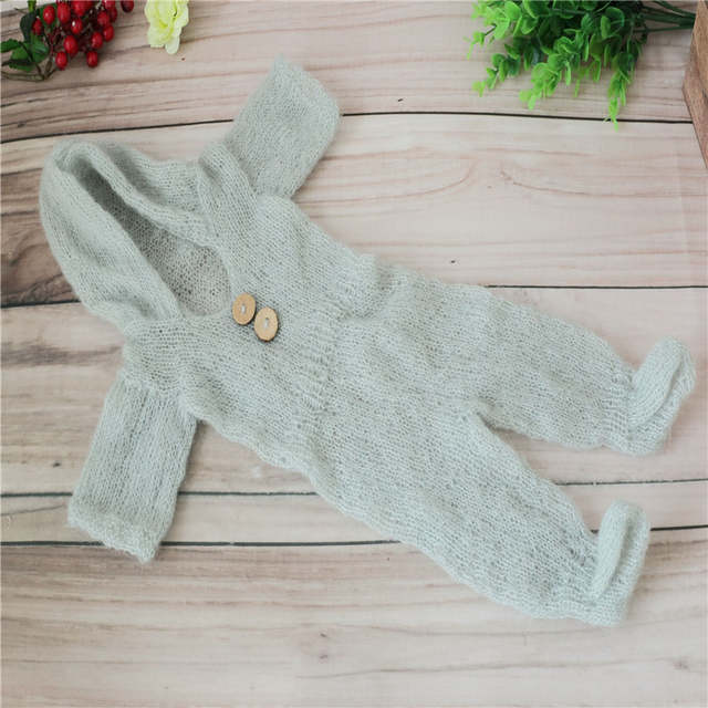 35d6f4523 Online Shop Newborn Photo Props Knit Baby Girl Hooded Romper Baby ...