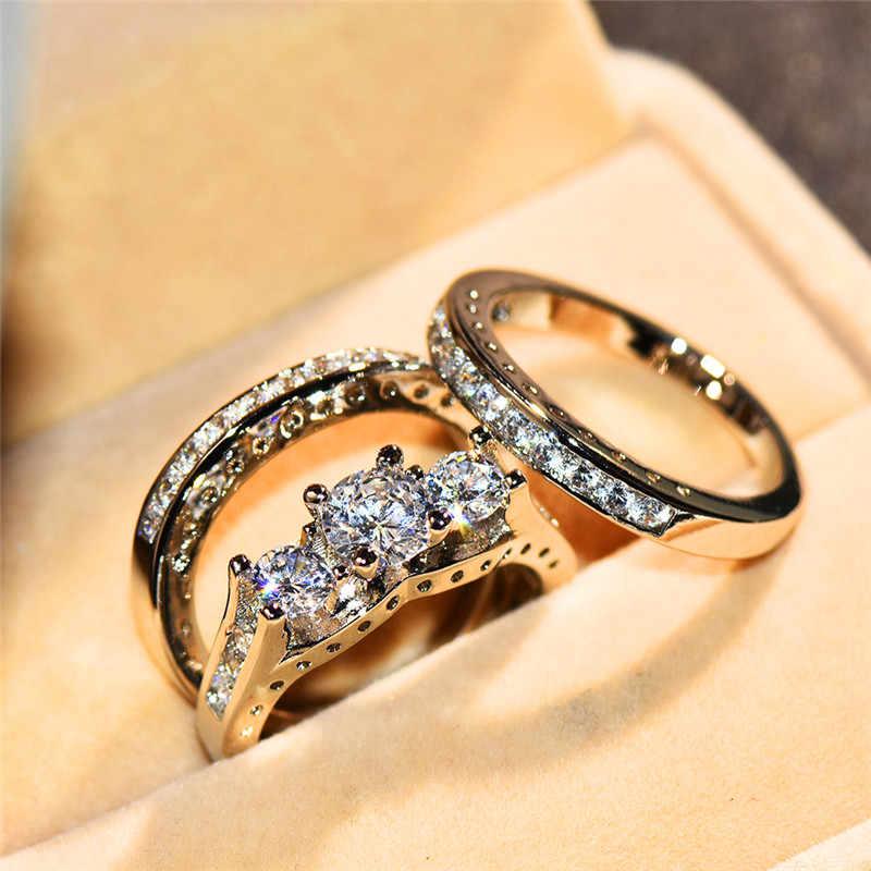 หญิงหรูหรา Big Stone ชุดแหวนแฟชั่นเงินสีเจ้าสาวแหวนหมั้นแหวนสัญญาคริสตัล Zircon แหวน