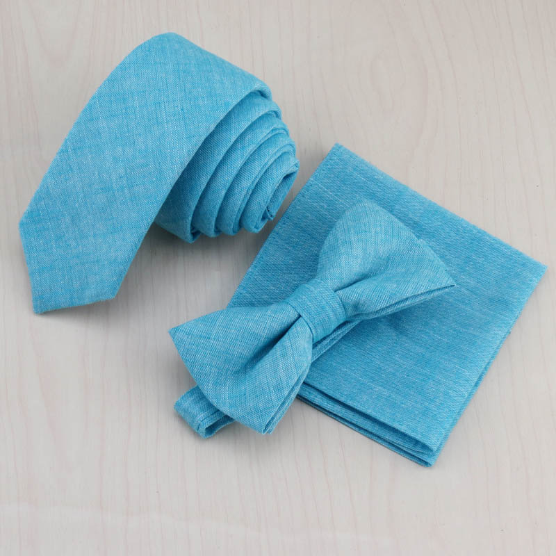 100% cotton Lake blue matching tie and pocket square Man must-have fashion small and pure and fresh style