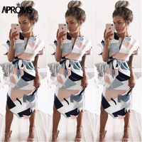 Aproms Sexy Multi Colored V Neck Shirt Dress Women 2017 Boho Short Sleeve Summer Midi Dress