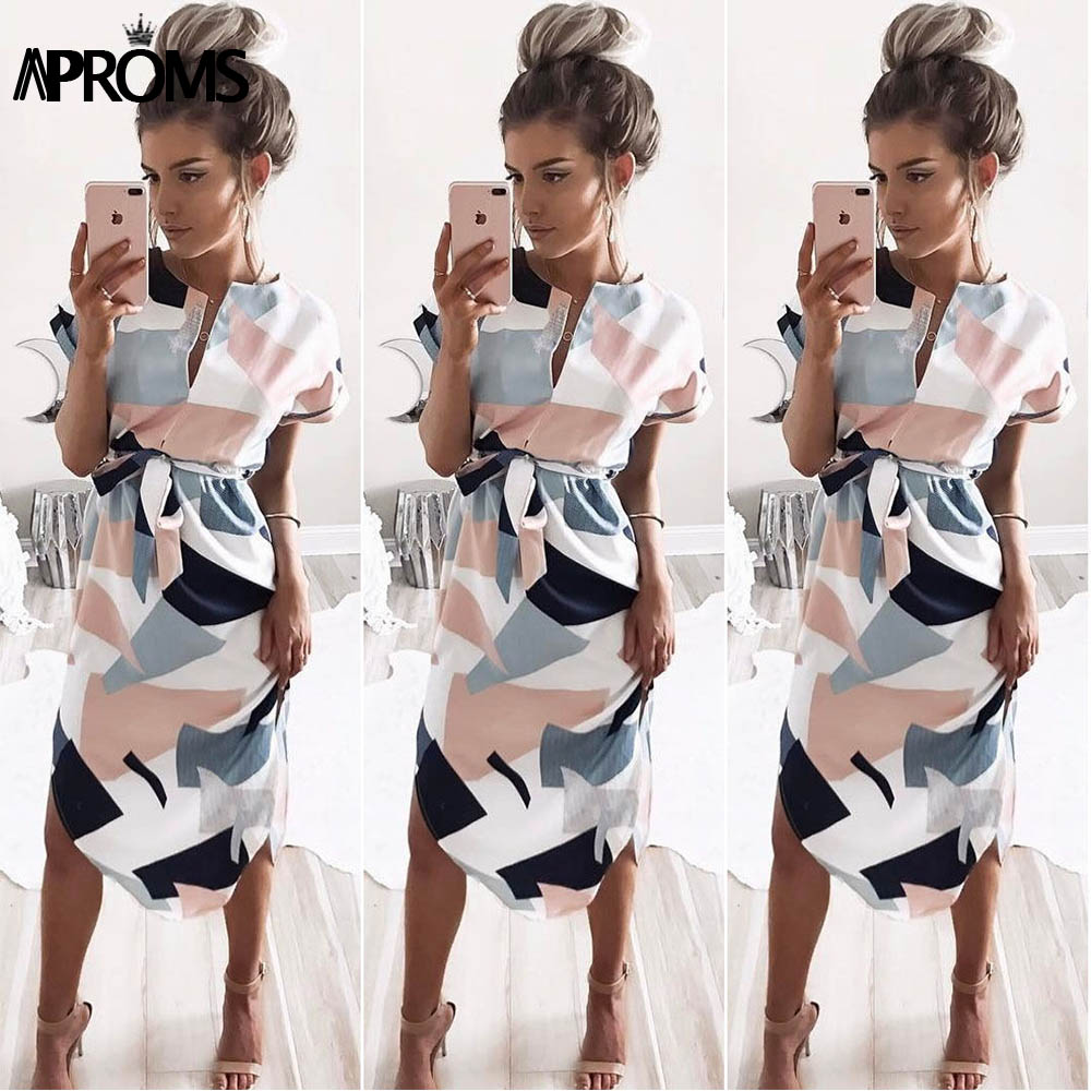 Aproms Sexy Multi Colored V Neck Shirt Dress Women 2017 Boho Short Sleeve Summer Midi Dress Casual Streetwear Sundress Vestidos