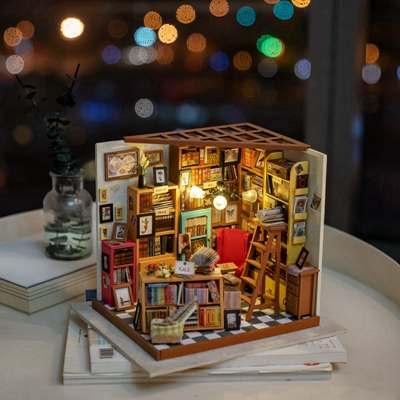 Fantastic diy mini wooden doll house miniature library, greenhouse, cafeteria, cottage