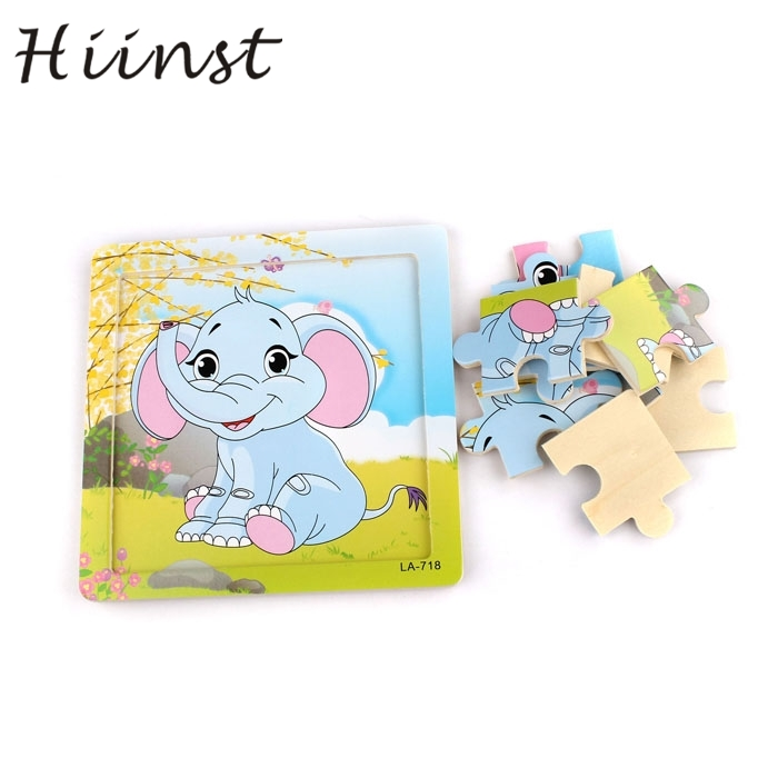 HIINST kids educational toys 2017 hot funny Wooden Elephants Puzzle Educational Developmental Baby Kids Training Toy gift*R Drop