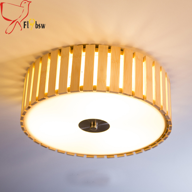 Chinese Style Bamboo Wood Led Ceiling Light Dia 42cm 52cm Round Shape Lampshade 30w 36w