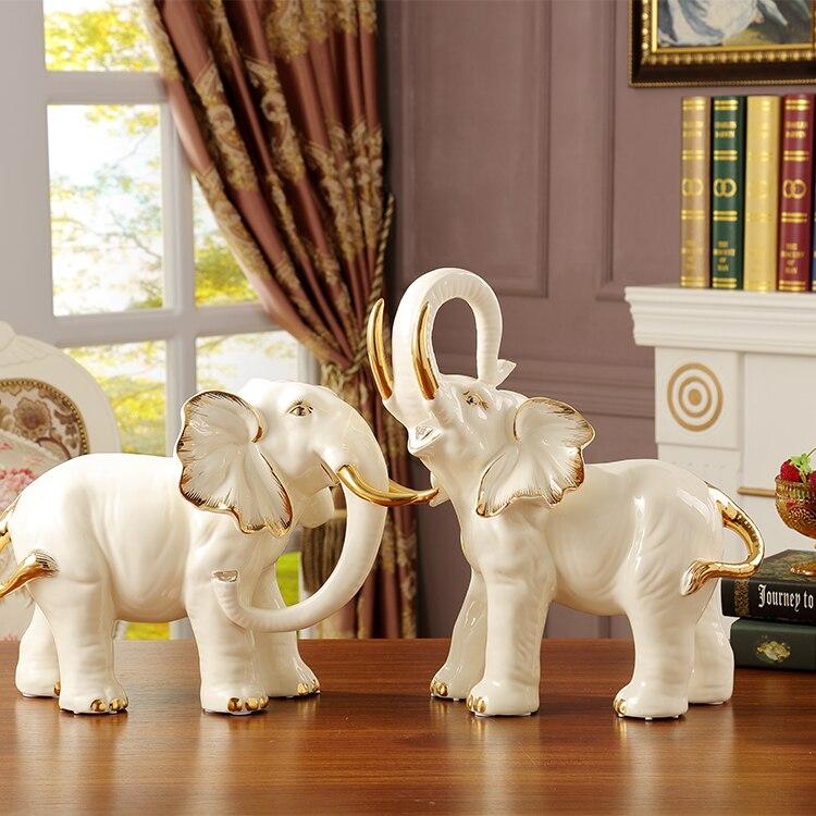 Большой Lucky керамический слон Home Decor ремесел украшения комнаты орнамент фарфоровые фигурки животных Свадебные украшения подарок