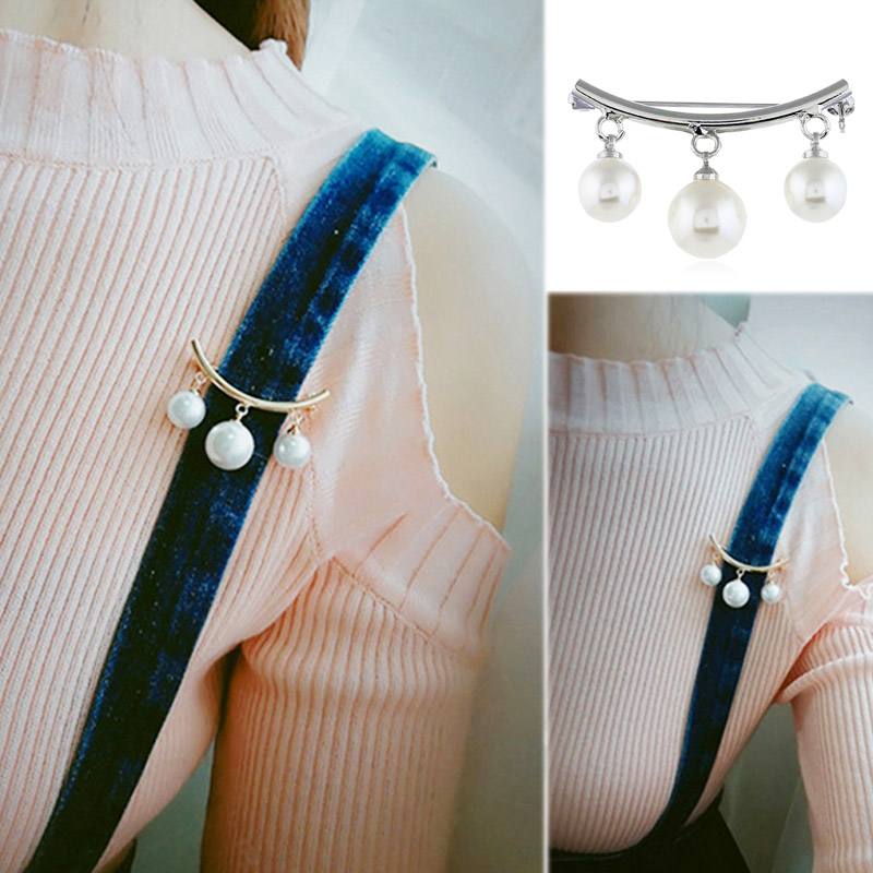 Sale 19 Korean Silver Color Pearl Bead Brooches For Women Cardigan Scarf Anti Wearing Girls Enamel Pin Fixed Straps 5