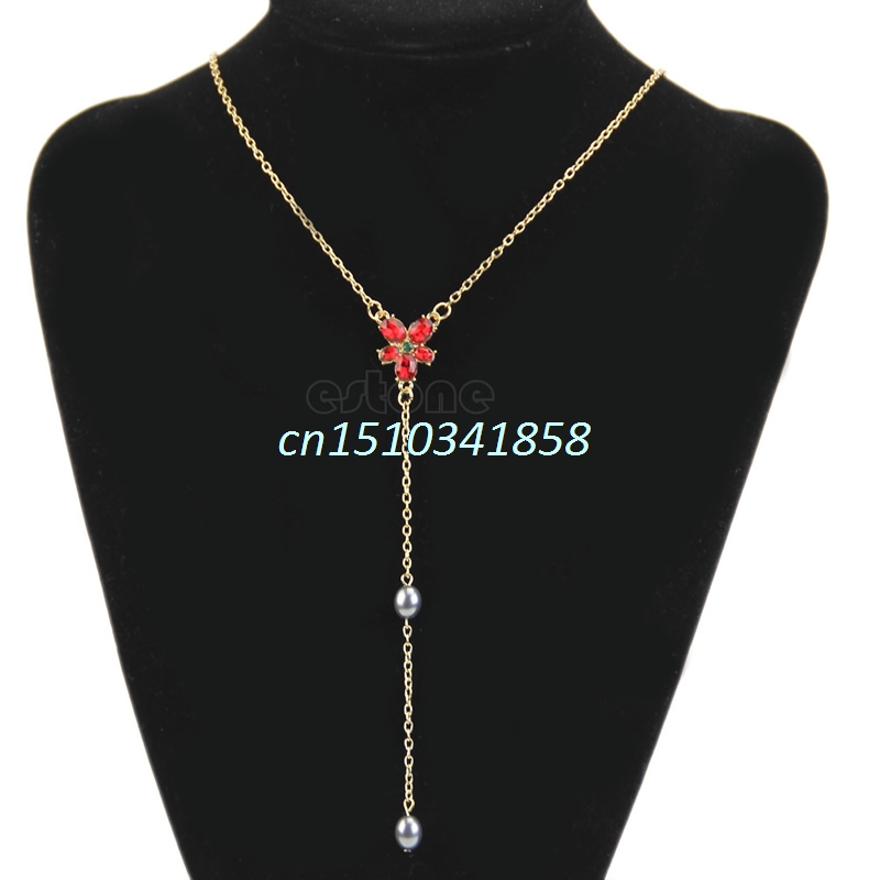 Hot Red Crystal Beads Necklace Pendant Sweater Chain #Y51#