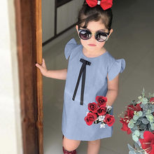 Solid Tutu Princess Baby Dress Toddler Infant Baby Girls Short Sleeves Dresses Ribbon Bow Summer Party Birthday Holiday Dress(China)