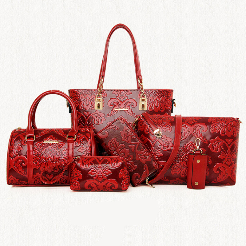 6 Pcs/Set Pu Leather Embossing Composite Bag Chinese Styles Women Handbag Messen