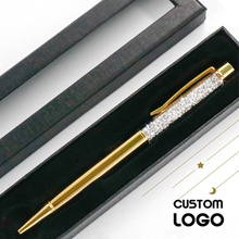 1pc New Metal Stationery Crystal Gel Pens Rhinestone Ballpoint Pen Daily Writing Custom LOGO Laser Lettering Commemorative Gifts