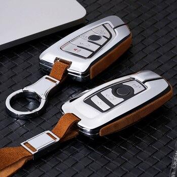 Coche de alta calidad de cuero de gamuza clave caso titular para cubierta BMW X1 X3 X4 X5 X6 E90 E60 E36 E93 F15 F16 F48 G30 F11 F30 Accesorios