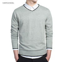 Varsanol Brand Cotton Sweater Pullover Men V Neck Casual Long Sleeve Tops Fit Knitting Solid Clothing