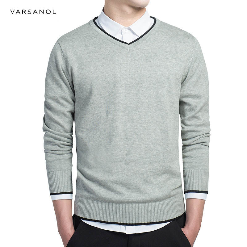 Varsanol Brand Cotton Sweater Pullover Men V-neck Casual Long Sleeve Sweaters Fit Knitting Solid Clothing New Autumn M-3XL