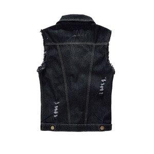 Image 2 - FALIZA Denim Vest Mens Jackets Sleeveless slim black Outerwear mens denim Coats jackets Tank Top Cowboy Male Ripped Jacket MJ I