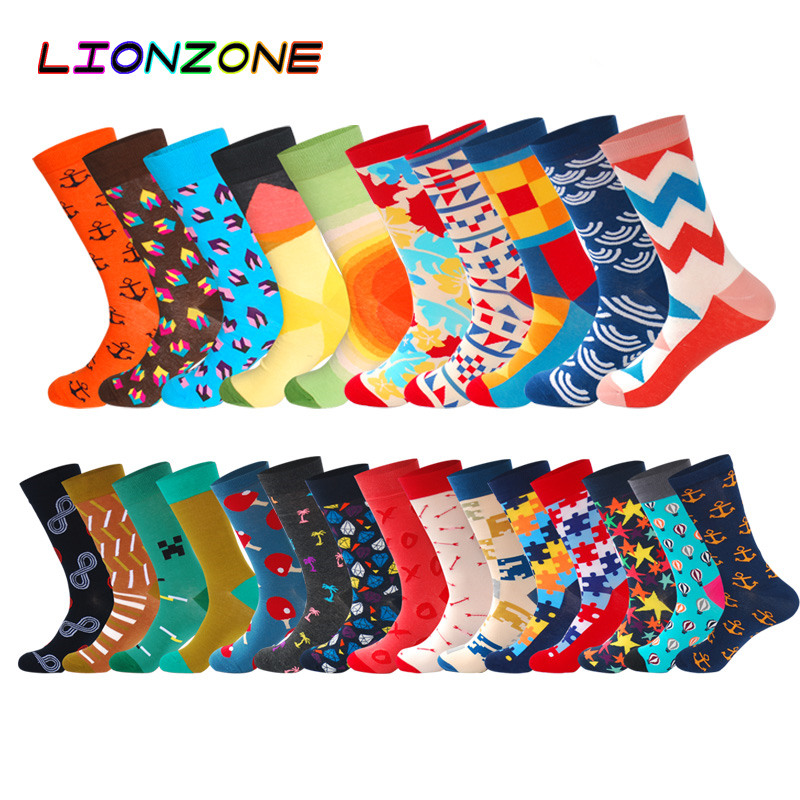 LIONZONE New Arrival High Quality Cotton Men   Socks   With Colored Striped Art Jacquard Shapes Spring Happy Long   Socks