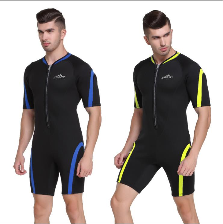 Sbart 2mm Neoprene Men Scuba Snorkeling Bodysuits Short Sleeves Male Wetsuits Diving Suits Surfing Equipment 2mm men diving suit