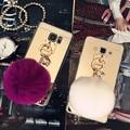 Девушка Зеркало для Макияжа Телефон Крышка Коке Капа Мех Кролика Мяч Pom Pom Case Cover For Samsung Galaxy J7 Кисточкой Кулон Мягкие Tpu Case