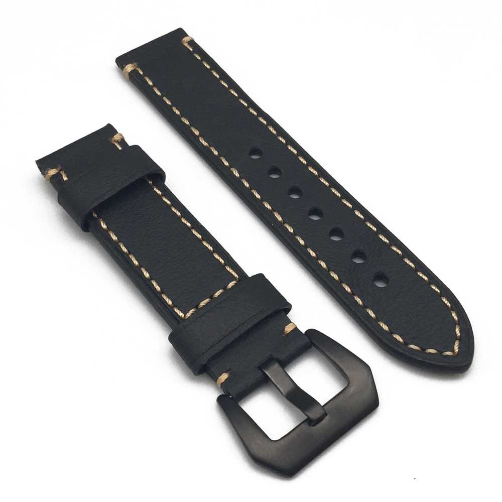 high quality Black 304 stainless steel button 22mm 24mm Leather Watch Strap Man Watch Straps Black brown Thick line Watch Band цена 2017