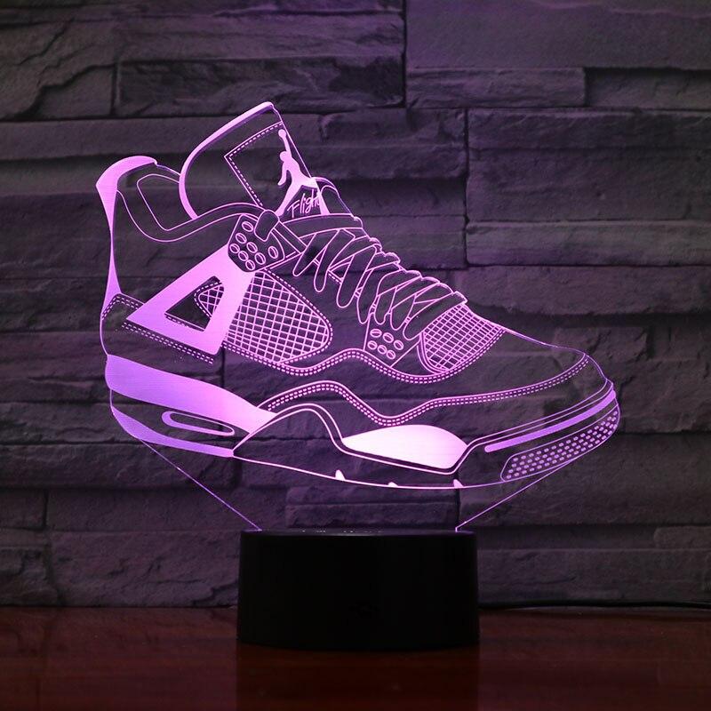 Jordan Retro 4 Shoes Basketball Lamp Bedside Decor 3D Illusion Touch Sensor Boys Kids Gift Led Night Light Air Jordan 4 Sneakers