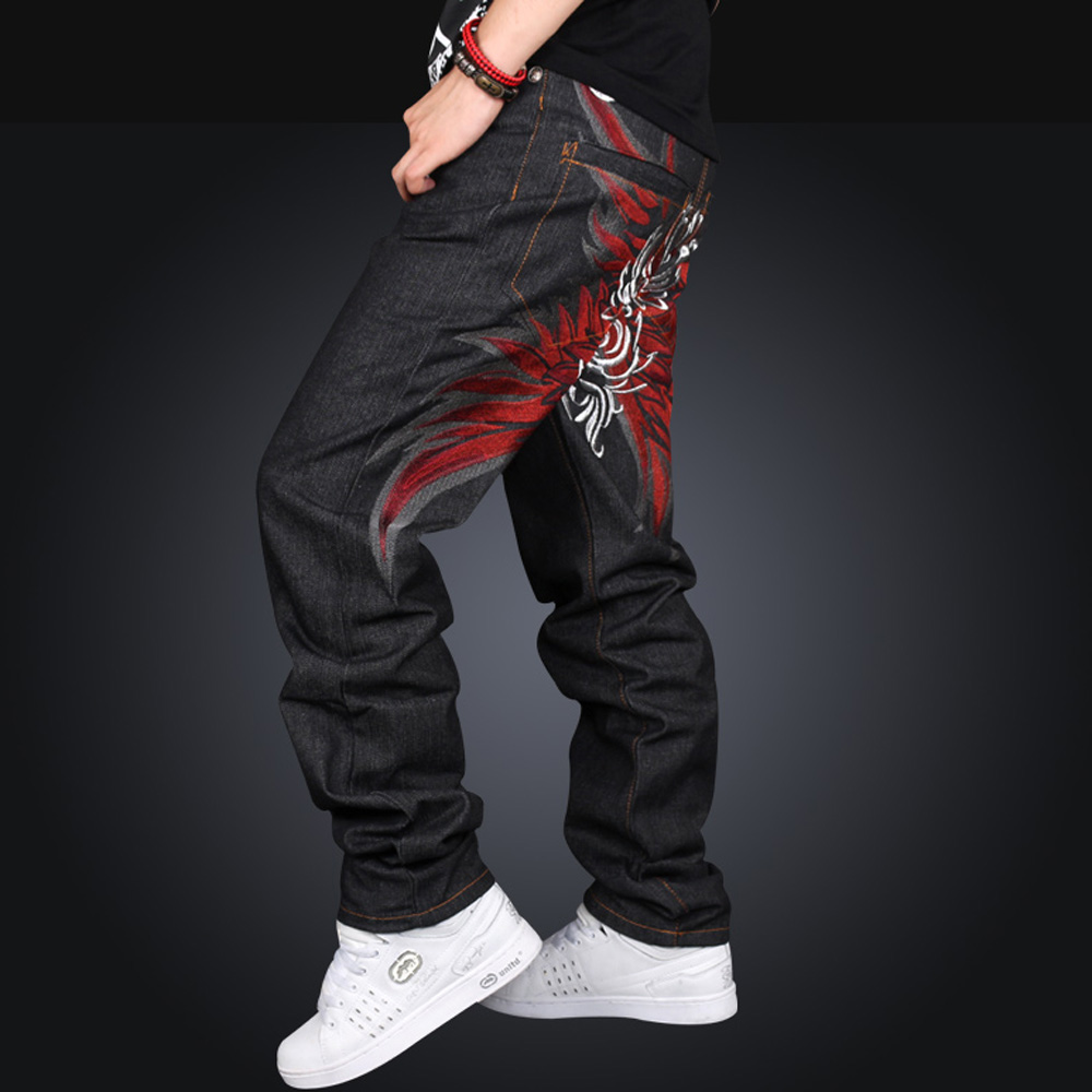 Brand Men Casual Black male Hip Hop Baggy Loose Jeans Designer Street Dance Skateboard Denim Pants Plus Size 004