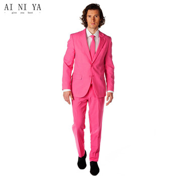Hot Pink Business Men Suits Custom Made Classic Groom Wedding Suits For Men Tailor Made Groomsmen Tuxedos Formal Prom 2 Piece